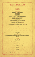 Mexican Cuisine Menu