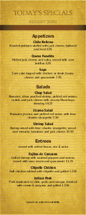 Customize Mexican Food Daily Specials Menu