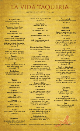 Customize Mexican Food Menu Legal