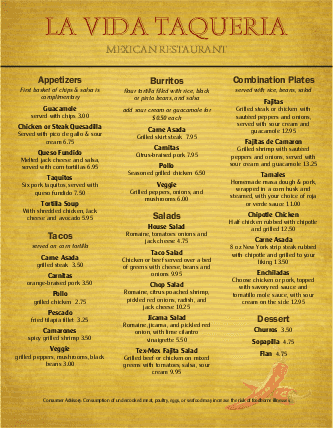 Customize Menu for Mexican Food