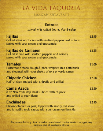 Customize Mexican Menu Poster