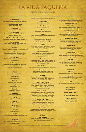 Customize Mexican Food Menu Large