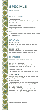 Mexican Lunch Daily Specials Menu