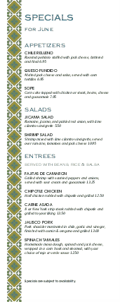 Customize Mexican Lunch Daily Specials Menu