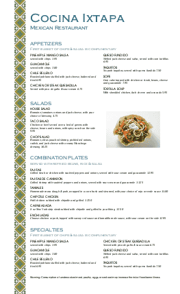 Customize Mexican Lunch Menu