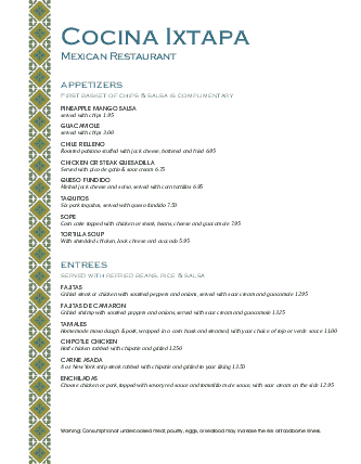 Customize Mexico Lunch Menu
