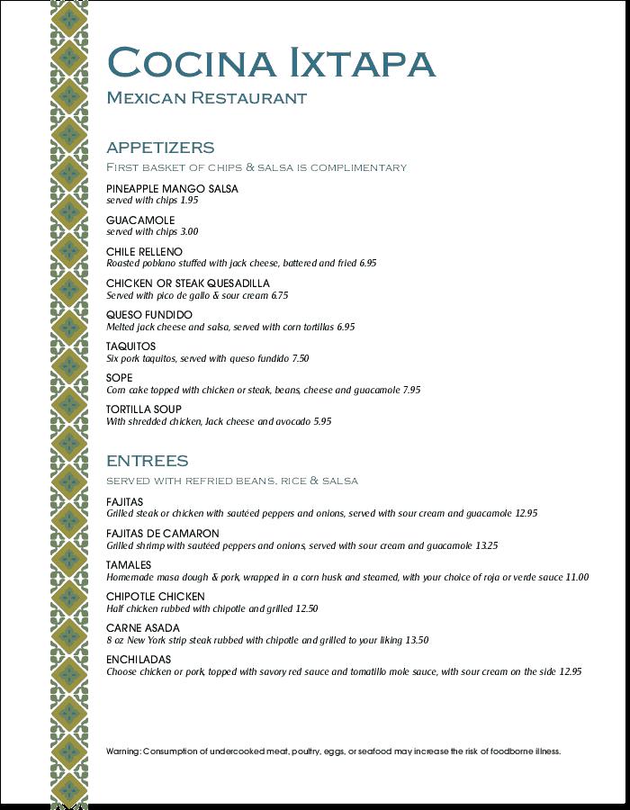 Mexico Lunch Menu