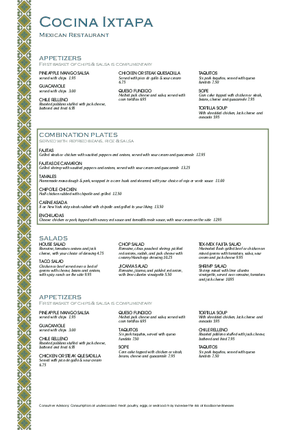 Customize Mexican Lunch Menu Large