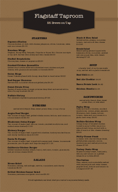 Customize Modern Pub Menu