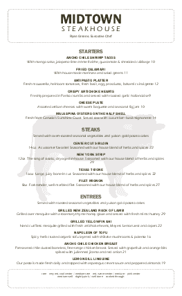 Customize Modern Steakhouse Menu