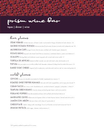 Customize Modern Wine Menu