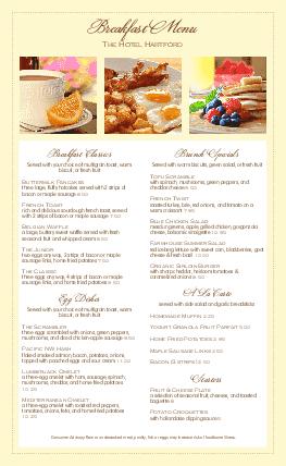 Customize Morning Breakfast Menu