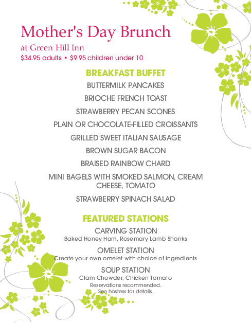 Customize Happy Mother's Day Brunch Menu