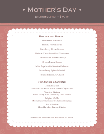 Customize Brunch for Mothers Day Menu