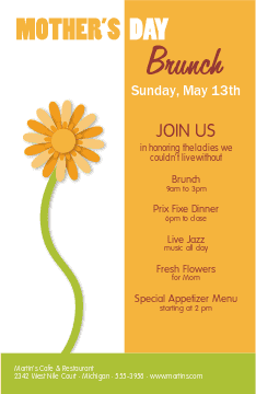 Cafe Mothers Day Flyer