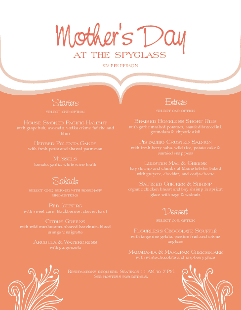 Customize Mothers Day Event Menu
