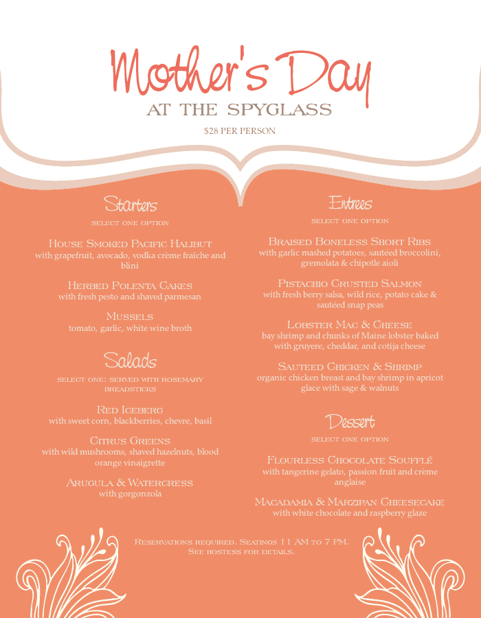 Mothers Day Event Menu