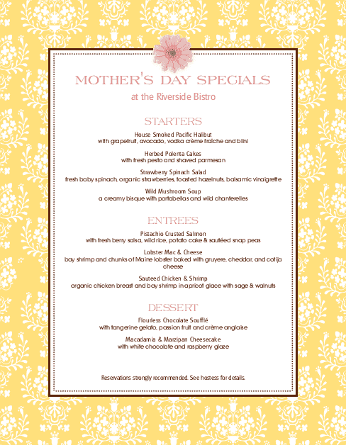 Customize Mothers Day May Menu