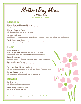 Mothers Day Restaurant Menu