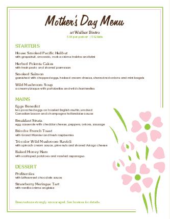 Customize Mothers Day Restaurant Menu