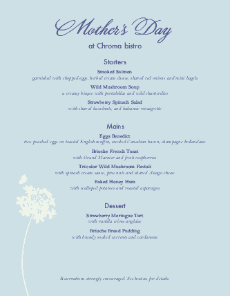 Customize Mothers Day Special Menu