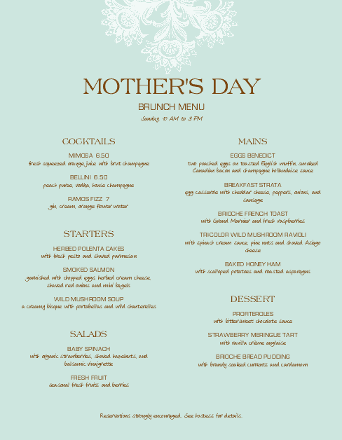 Customize Upscale Mothers Day Menu