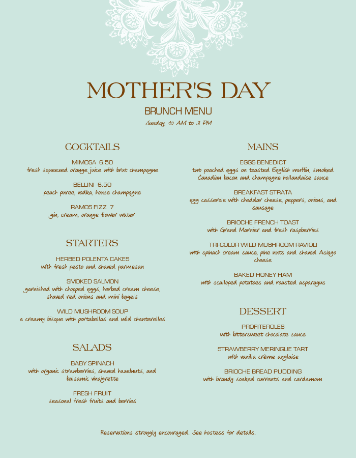 Upscale Mothers Day Menu