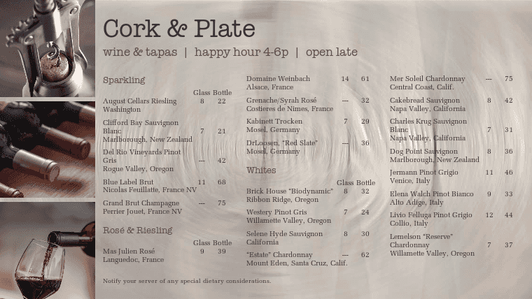 Customize New Wine Menu Board