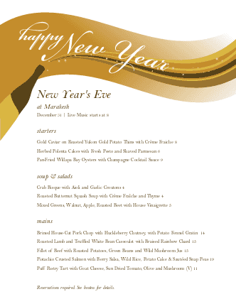 Customize Menu for New Years Eve