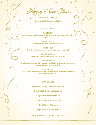 Customize New Years Day Menu