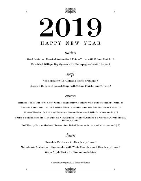 Customize New Years Eve Dinner Menu
