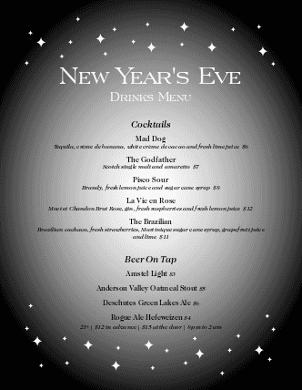 Customize New Years Eve Party Menu