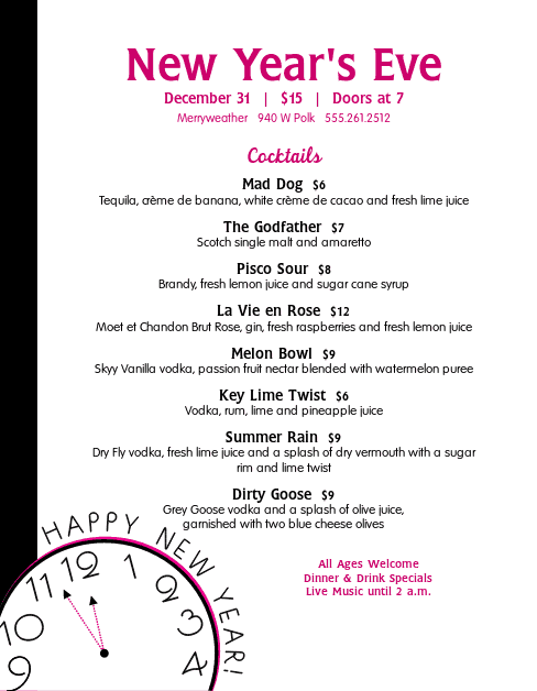 Customize New Years Menu
