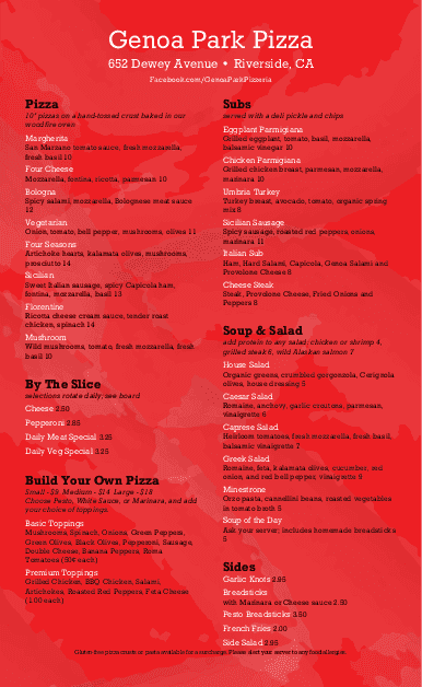 Customize New York Pizza Menu