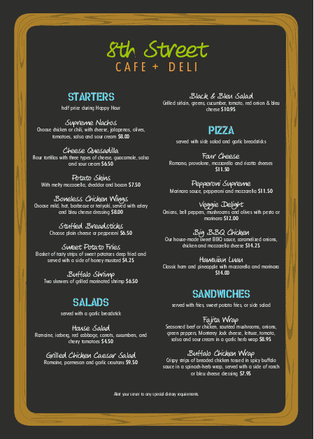 Customize A4 NYC Deli Menu