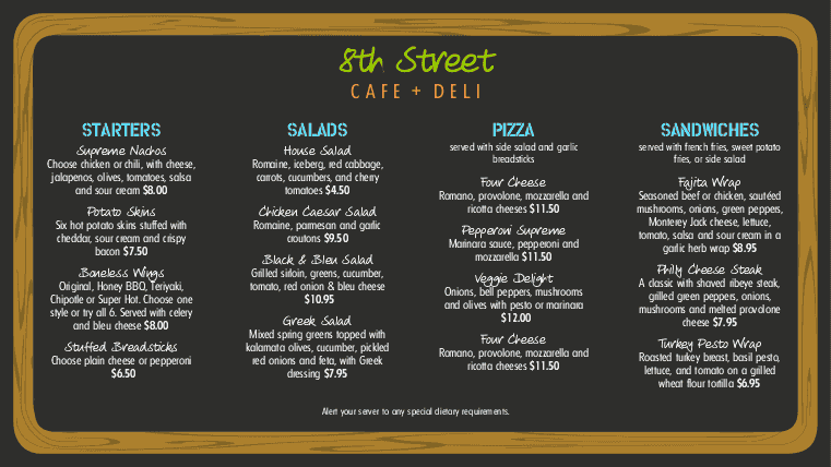 Customize NYC Deli Digital Menu