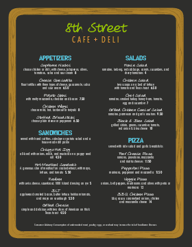 deli menu templates