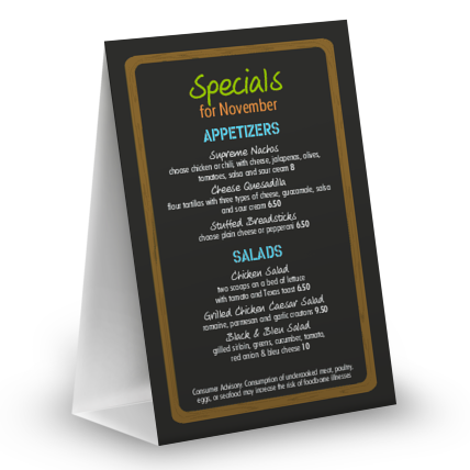 View NYC Deli Table Tent Menu