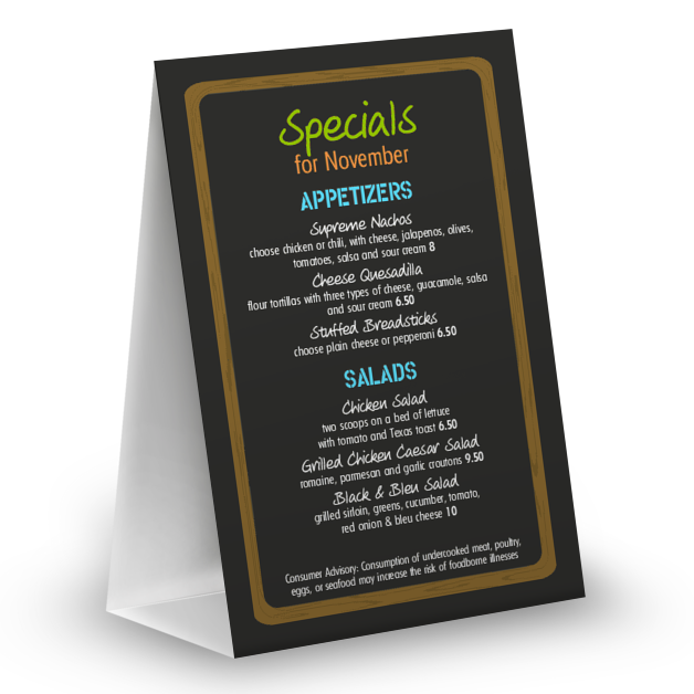 Customize NYC Deli Table Tent Menu