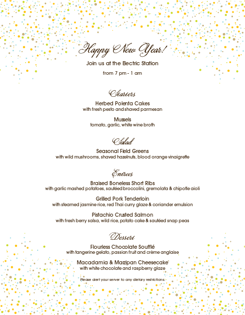 Customize NYE Menu