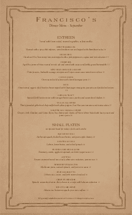 Customize Old World Cafe Menu