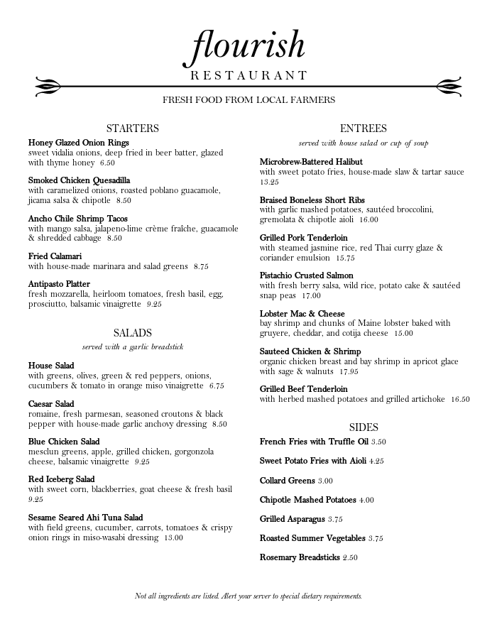Park Cafe Bar Menu