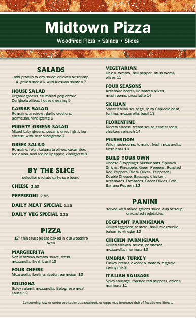 Customize Pizza Lunch Menu