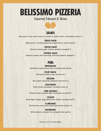 Customize Pizzeria Restaurant Menu