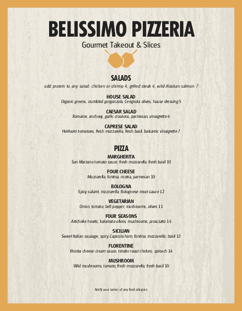 Customize Pizza Restaurant Menu Page