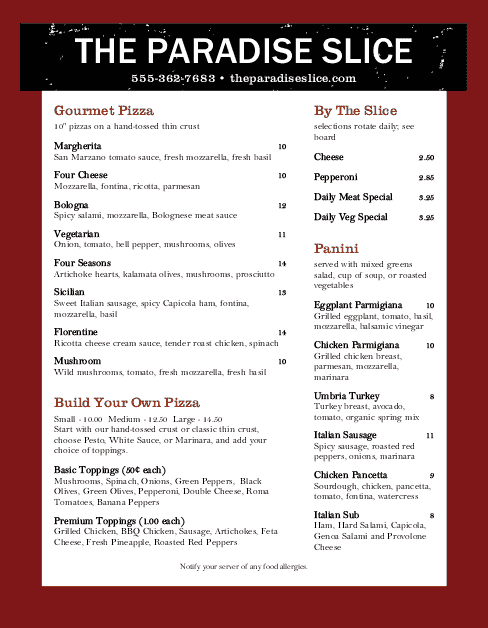 Customize Pizzeria Menu