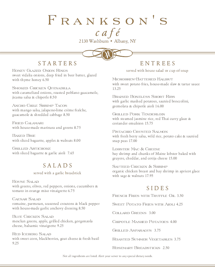 Plaza Cafe Menu