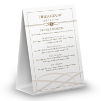 Plaza Cafe Table Tent Menu