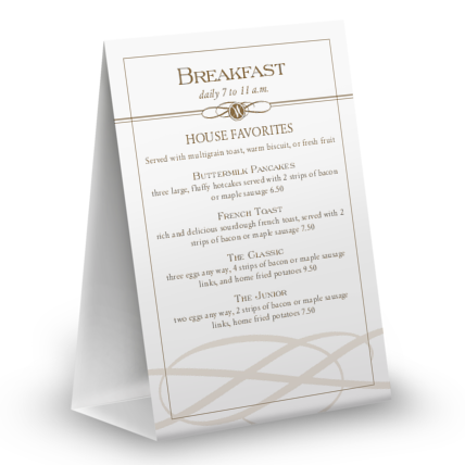 View Plaza Cafe Table Tent Menu