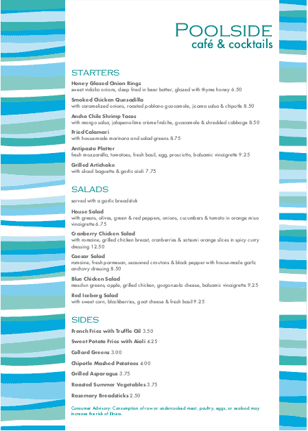 Customize A4 Poolside Menu